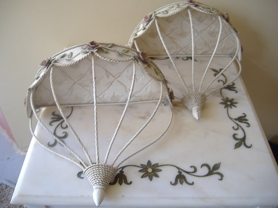 Shabby Chic Ornate Metal Floral Decor Wall Shelves 2