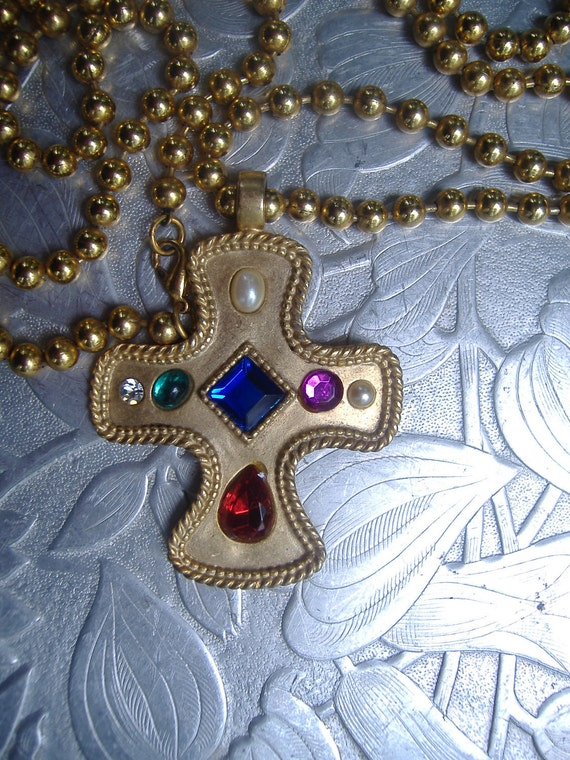 Maltese Gold Cross Long Chain Jeweled Statement Necklace OOAK