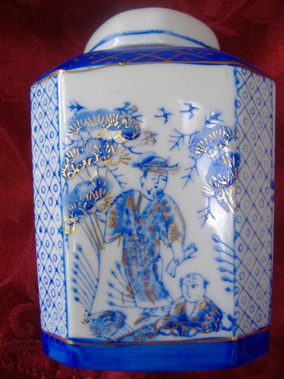 Cobalt Blue White Gold Asian Porcelain Ginger Jar Hand Painted