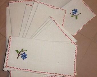 hand embroidery napkins set of 11
