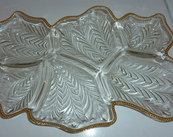 relish tray 6 part trimmed in gold