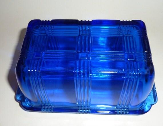 Hazel Atlas one pound  cobalt blue butter dish