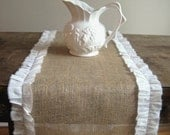 French Farmhouse Burlap Chic Runner White Muslin Ruffles Lace Trim