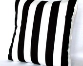 Black and White Throw Pillow Cover - Stripes, Optional Zipper - 18x18 or 20x20 inch Decorative Cushion Cover - Black White Canopy Stripes
