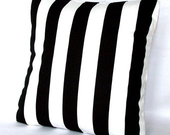Black and White Pillow Cover - Striped, 18x18 or 20x20 inch Decorative Throw Cushion Cover - Black White Canopy Stripes