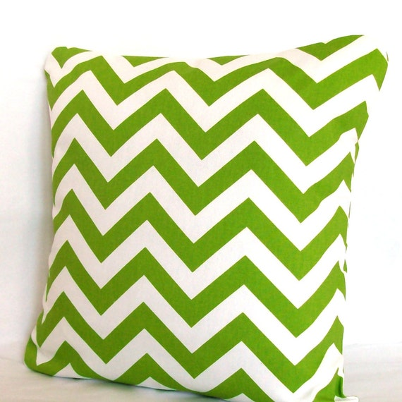 Green Pillow Cover - 18x18 inch Chevron Decorative Cushion Cover - Lime Green Zig Zag, More Sizes Available