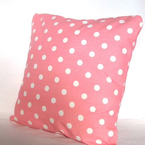 Pink Pillow Covers - TWO 16x16 inch Polka Dots Throw Cushion Covers - Pink with White Dot