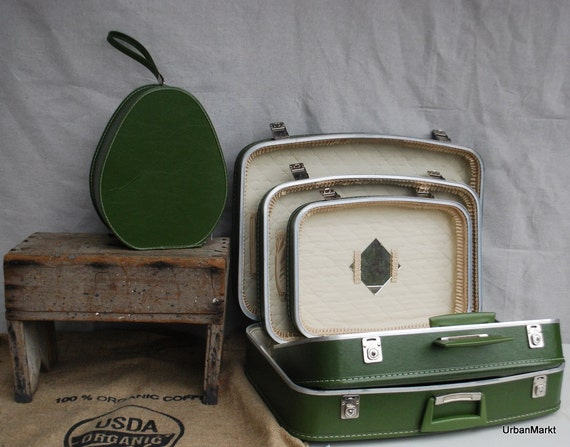 Avocado Luggage 4 Piece Set Vintage Photography Prop Antique Green Four Pieces Suitcases Retro Mid Century 1950s by UrbanMarkt on Etsy