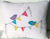 bird pillow, colorful, triangle flag bunting, blue pink purple yellow, OOAK, nursery decor, mother's day gift under 30 ready to ship
