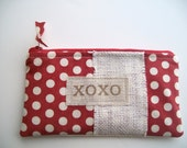 zipper xoxo bag, heart, whimsical, red and white dot burlap, birthday, mother's day gift for her under 20 (LAST ONE)..SALE