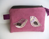 wallet keys, zipper pouch, whimsical suede, mauve, brown, purple, birds, birthday, mother's day gift for her under 15    READY TO SHIP