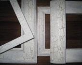 Shabby Chic Picture Frames, Wood Picture Frames, Distressed Photo Frames, Frame Set, Antiqued Wedding White, Vintage Frames, Art Deco