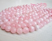 "GB-1051 - Round Pink Large Faceted Rose Quartz Gemstone Beads - 14mm - 64 Facets - 8""  Strand"