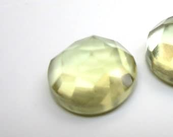 GCF-1087 - Lemon Quartz Cabochon - 10mm Round Faceted Gemstone - AA Quality - 1 Cab
