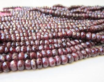 "GB-1018 - Natural Garnet Faceted Rondelle - 4x6mm Gemstone Beads - 16"" Strand"