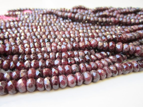 "GB-1018 - Natural Garnet Faceted Rondelle - 4x6mm Gemstone Beads - 16"" Strand"