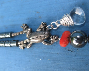 The Frog, The Droplet, And The Darkness Necklace - Hematite