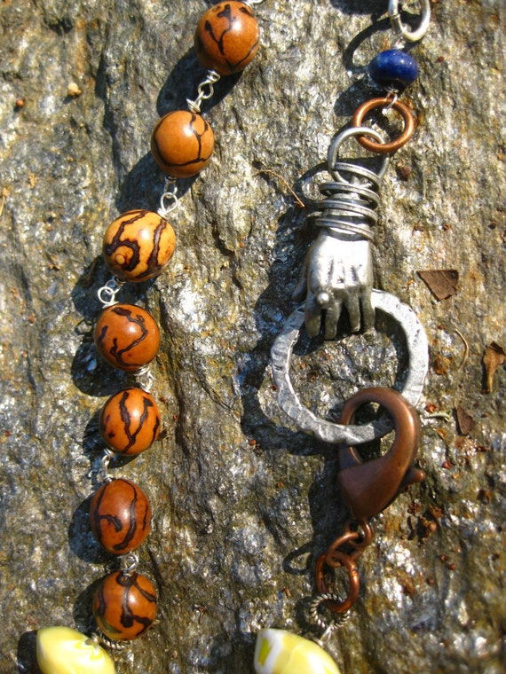 Necklace - Give Me A Hand to Co-Exist - Seeds and Handmade Beads