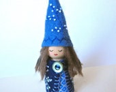Midnight Blue and Slate Blue Felt and Wood Peg Fairy Gnome Doll with White Flower Details