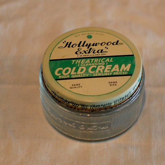 Hollywood Cold Cream Jar Glass Green 1940s Actor Actress Drama Theater