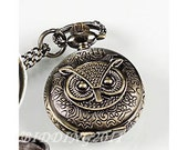 antique steampunk pocket watch owl with necklace brass wp080cd