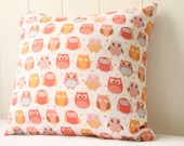 Childrens Pink Owl Cushion Cover