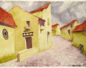 Medieval Transylvania Landscape, historic village fortress art print
