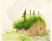 Surrender to the Forest - Art Print 7 x 8 Shabby Chic Wilderness / Roof taken by trees