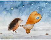 Children Wall Art - Hedgehog & Heart nursery fine art print watercolor 8 x 11