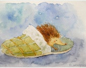 Children Wall Decor Hedgehog Sleep Nursery Art Print