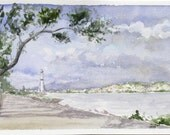 Nautical landscape, Istanbul harbour panorama, white lighthouse, watercolor painting, Bosphorus travel fine art print, Turkish sea shore