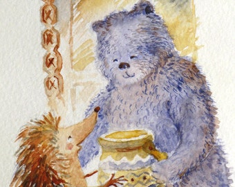 Hedgehog bear & honey pot nursery art watercolor