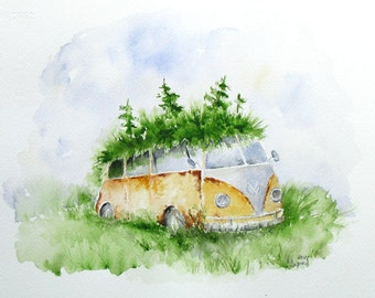 Woodland Volkswagen, Eco Home, Fine Art Print, rusty camper, pixie home