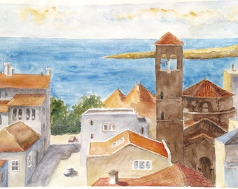 Seaside City Landscape Art Print travel painting rooftops sea shore houses watercolor
