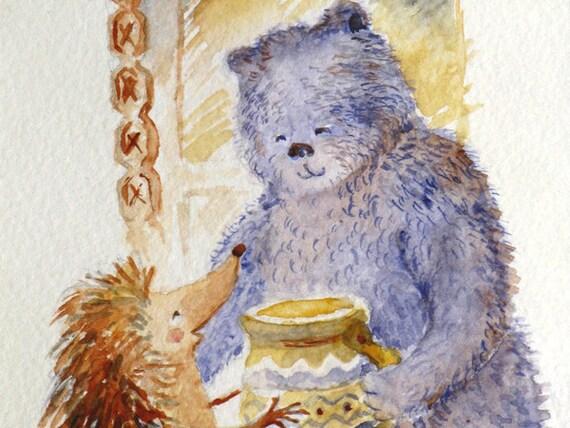 Hedgehog bear & honey pot nursery art watercolor