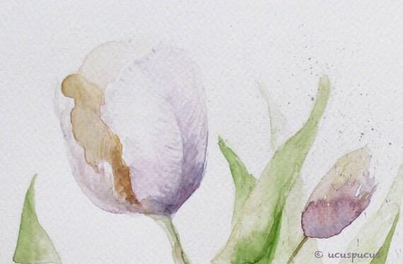 Pastel Tulips Watercolor Giclee Print - Botanical Art