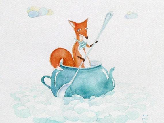Fox Watercolor Print nursery art teapot sailing sea nautical illustration children room wall decor