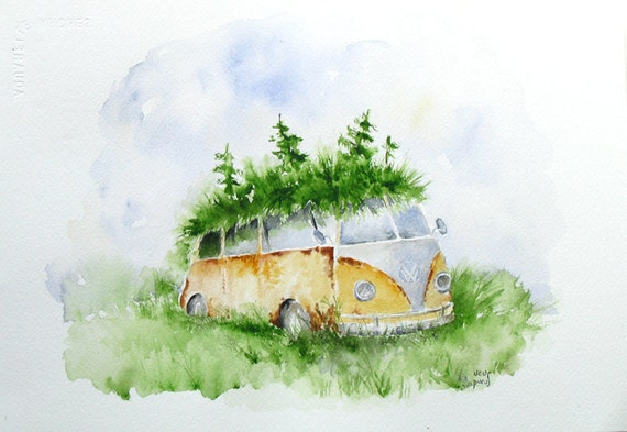 Woodland Volkswagen, Eco Home, Fine Art Print, rusty camper, pixie home