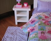 """TEMPORARILY SOLD OUT - Complete Bedroom for American Girl Doll / 18"""" dolls - Bed, Princess Bedding w/ Lavender Sheets, Bedroom Accessory Set"""