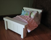 """Mini Farmhouse Style Bed for Mini American Girl Doll or other 6"""" doll"""