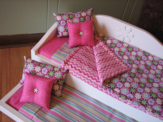 "Daybed/Trundle Set for American Girl / 18"" doll - Bedding in Pink Medallion with lime green / aqua blue / lavender / brown flowers"