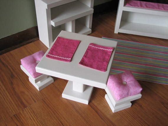 "Cafe Side Table with Cushioned Bar Stools and Placemats - Sweet Shop Cafe / Bakery Set for American Girl or other similar 18"" dolls"
