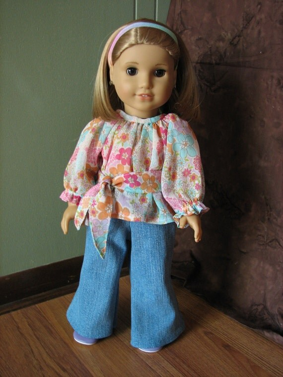 """American Girl Doll Clothes / 18"""" Doll Outfit - Peasant Shirt and Bell Bottom Jeans"""