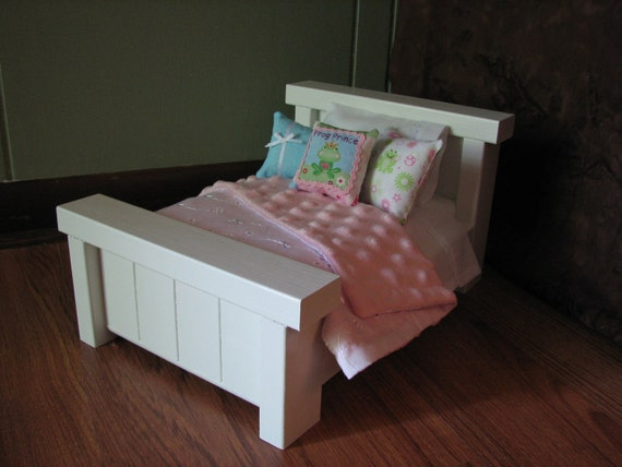 "Mini Farmhouse Style Bed for Mini American Girl Doll or other 6"" doll"