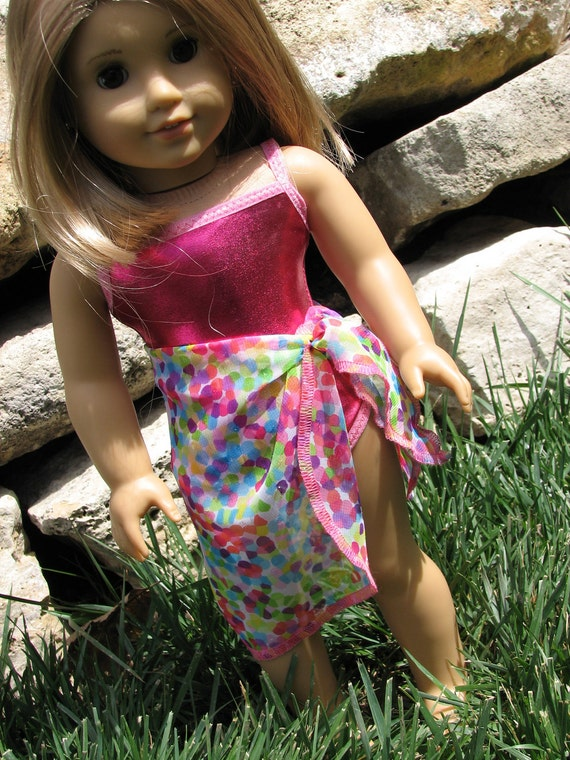 """Swimsuit and Sarong for American Girl Doll Clothes / 18"""" Doll clothing - Bright Shiny Pink"""