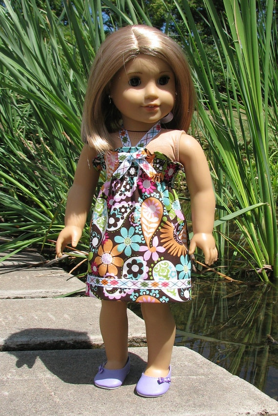 "American Girl Doll Clothing / 18"" Doll Clothes - Summer Sundress in Brown Paisley"