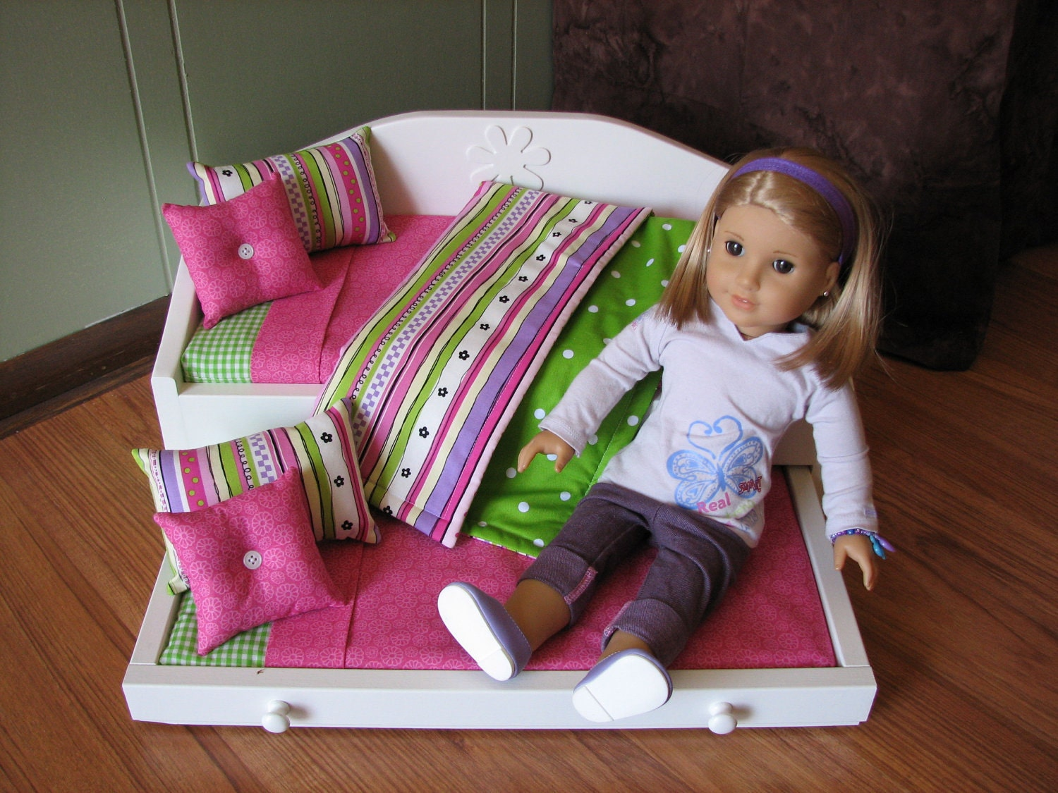 Daybed With Trundle And Bedding Set For American Girl