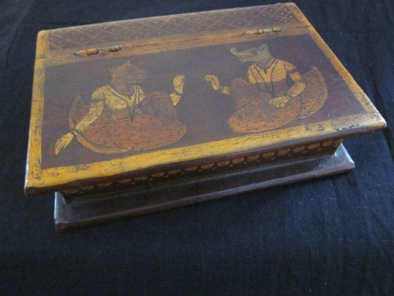 Antique  Wood Box with animal illustrations