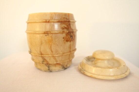 Antique Late 19th century Tobacco Alabaster Pot