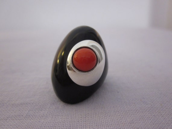 Buffalo Horn, 925 Sterling Silver & Coral Ring
